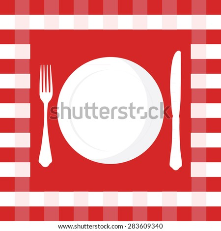 Red and white checkered tablecloth with fork, knife and plate vector illustration. Picnic table cloth