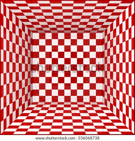 Red and white chessboard walls vector room background - stock vector
