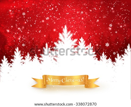 Red and white Christmas trees landscape background with falling snow, spruce forest silhouette and gold ribbon banner.  - stock vector