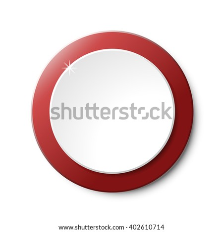 Red and White Circular Plastic Button on White Background. Vector Element.
