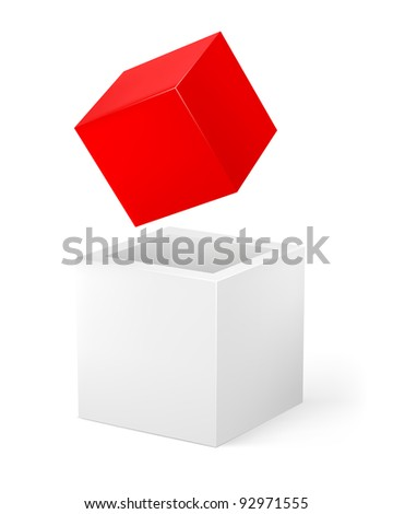 Red and white cube. Illustration of the designer on a white background