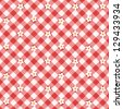 Red and white floral gingham cloth background with fabric texture, plus seamless pattern included in swatch palette, pattern fill expanded ( for high res JPEG or TIFF see image 129433937 ) - stock vector