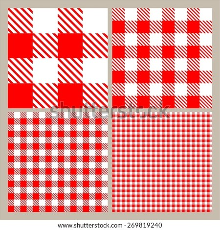 Red and white gingham seamless pattern - stock vector