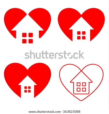 Red and white heart with house inside vector set. Designed real estate company logo. Building company signs. Business card elements. Home sweet home illustration.Valentines day greeting cards. - stock vector