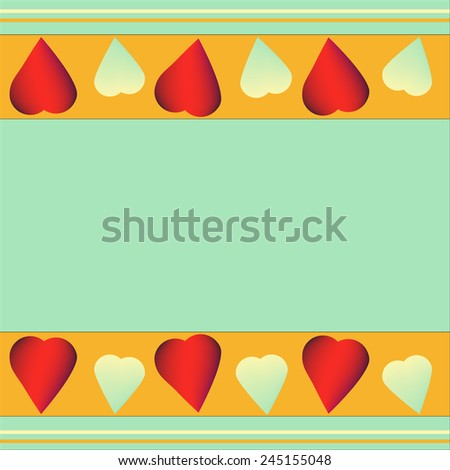 red and white hearts Valentine's Day on a pistachio-colored  background for design - stock vector