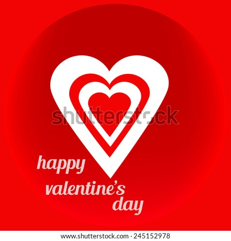 red and white hearts Valentine's Day on a red background for design - stock vector