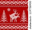 Red and white humorous sweater with deer vector seamless pattern - stock photo