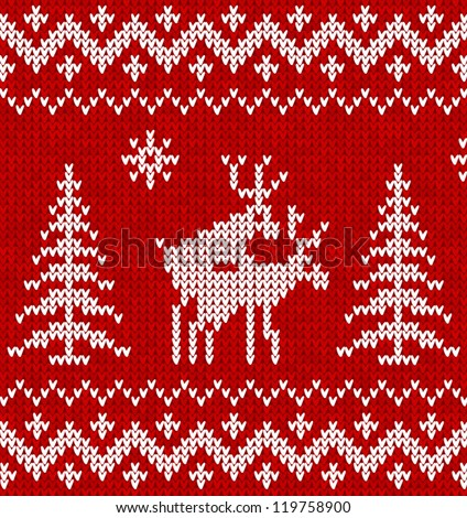 Red and white humorous sweater with deer vector seamless pattern - stock vector