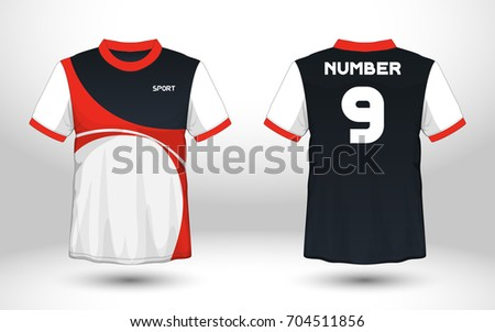 Red White Layout Football Sport Tshirt Stock Vector ...