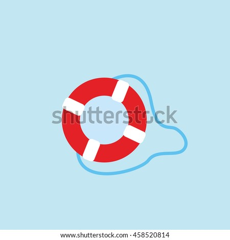 red and white life saver and blue rope illustration isolated in a light blue background