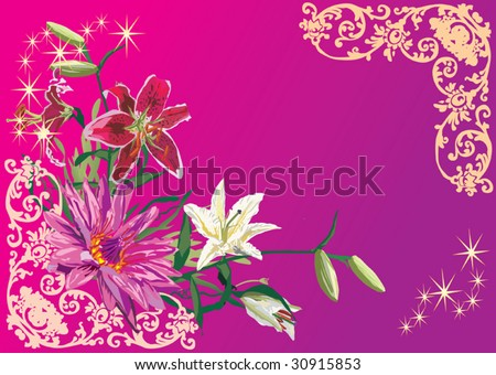 red and white lotus illustration on pink background