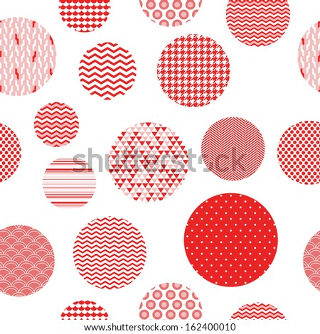 Red and white patterned circles geometric seamless pattern, vector - stock vector