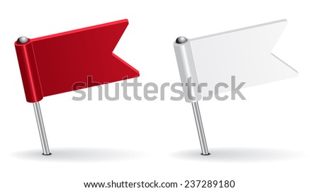 Red and white pin icon flag. Vector illustration Eps 8. - stock vector