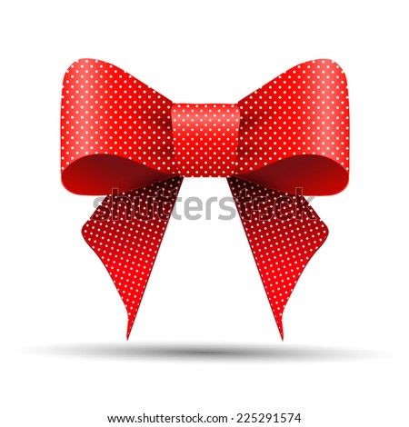 Red and white polka dot bow - stock vector