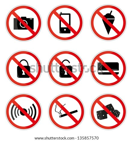 Red and White Prohibited Signs,Vector illustration EPS10.