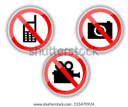 red and white prohibiting signs with telephone, video and photo camera - stock vector
