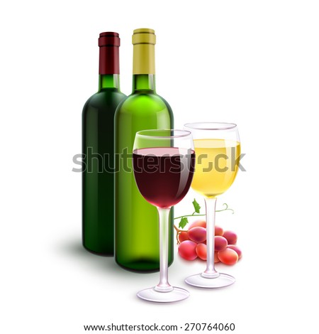 Red and white realistic wine bottles set with glasses and grape bunch vector illustration - stock vector