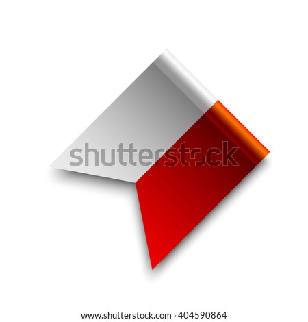 Red and white ribbon. Vector illustration.