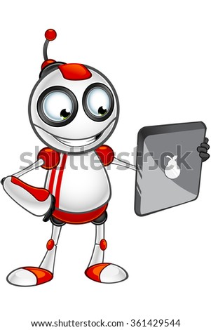 Red And White Robot - Holding A Tablet