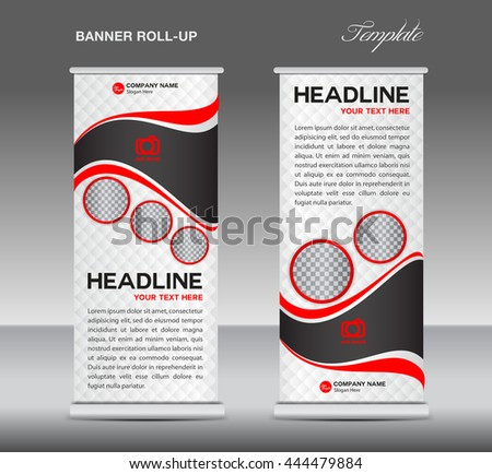 Red and white Roll up banner stand template vintage layout design, advertisement, display,flyer - stock vector