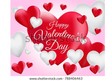 Red White Romantic Valentine Hearts Background Stock Vector ...