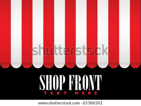 Red and white strip shop awning with space for company name