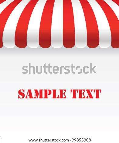Red and white strip shop awning with space - Vector - stock vector