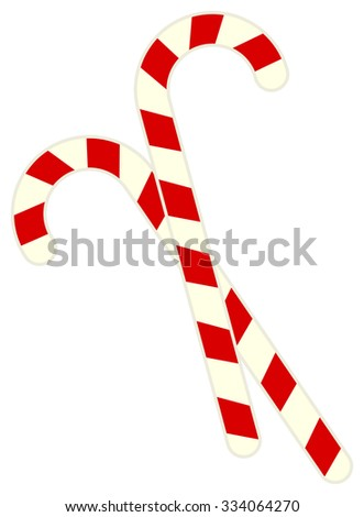 Red and white striped christmas sugar cane sticks isolated on white background - stock vector