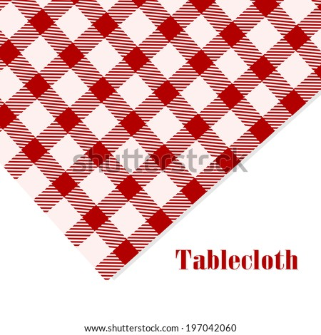 Red and white tablecloth on white background - stock vector