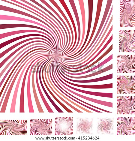 Red and white vector spiral design background set. Different color, gradient, screen, paper size versions. - stock vector