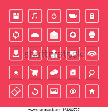 Red and White Website Vector Icons Set