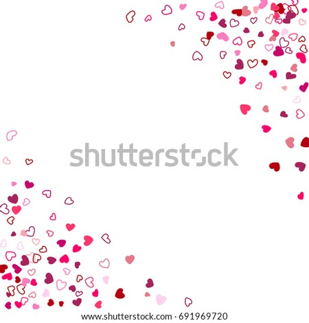 red and white wedding background invitation card template vector heart confetti border with place