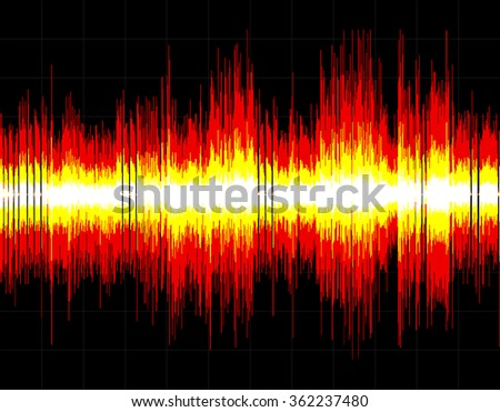 Red and yellow abstract digital sound wave background. - stock vector