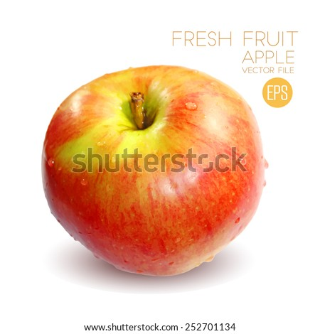 Red and yellow apple isolated on white background, beautiful fresh fruit. Vector illustration for advertising, packaging, banner, wallpaper. - stock vector
