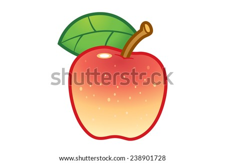 Red and yellow apple with green leaf