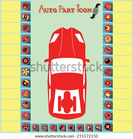 Red and yellow car parts icons point to various parts of the car on dark backgrounds. - stock vector
