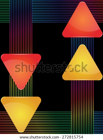 Red and yellow glass triangular text holder with decorative colorful lines - stock vector