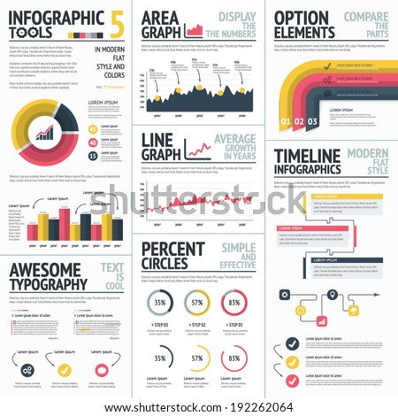 Red and yellow infographic elements set vector - stock vector