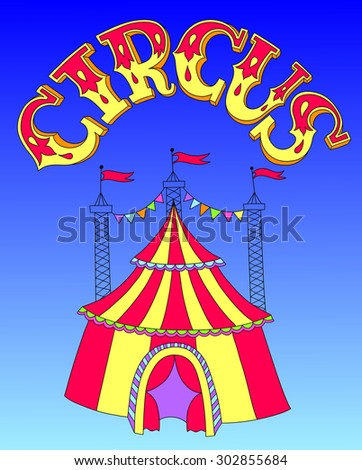 red and yellow line art drawing of circus tent on blue sky background, vector illustration eps10