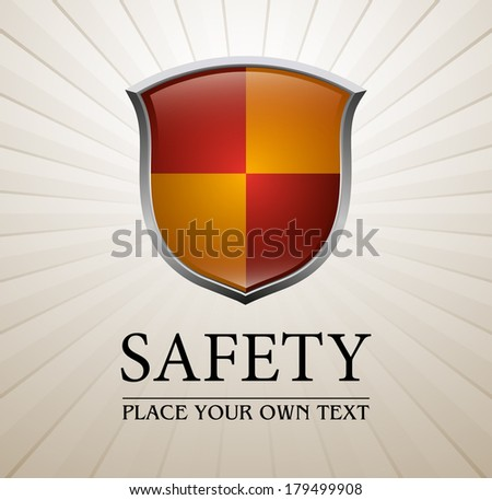 Red and yellow protection shield - stock vector