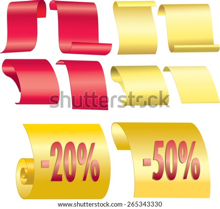 Red and yellow Ribbons Set. sale - stock vector