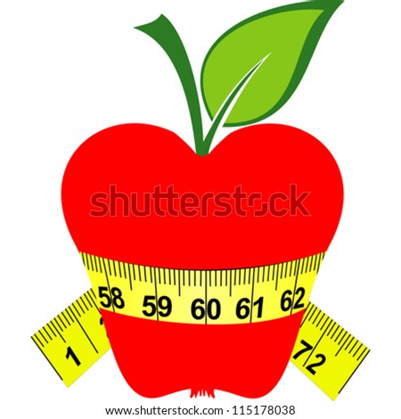Red apple and tape isolated on a white background. Vector Illustration - stock vector