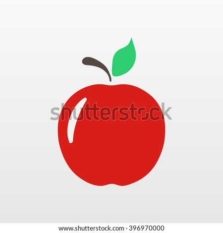 Red Apple icon. Flat apple isolated vector