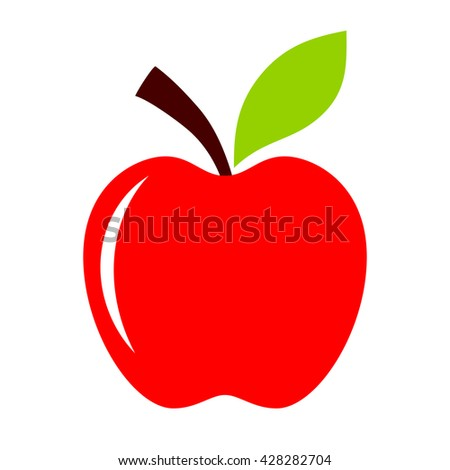 Red apple icon vector illustration isolated on white background - stock vector