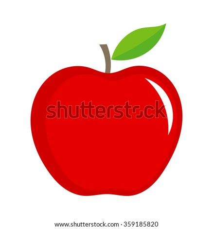 Red apple illustration isolated on white background - stock vector