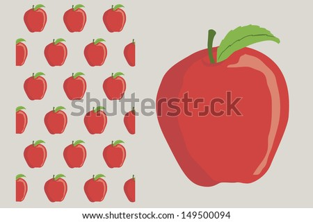 red apple in a simple way - stock vector