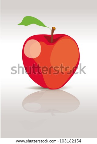 Red apple isolated on white, vector illustration - stock vector