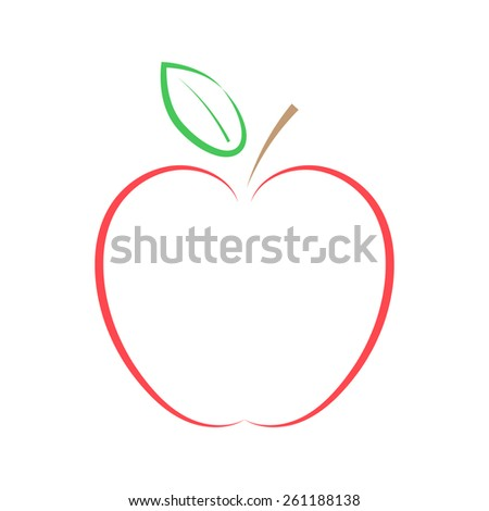 Red apple on a white background. Vector illustration.  - stock vector