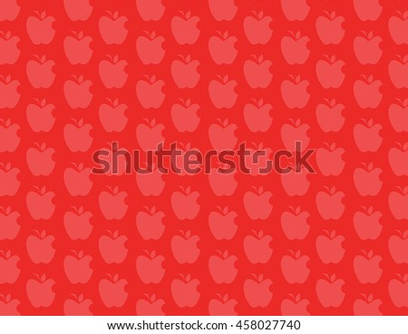 Red apple pattern over red color background - stock vector