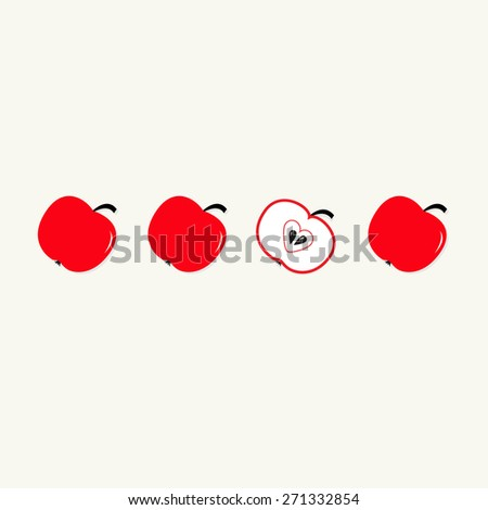 Red apple set in a row. Whole and half with heart seed. Healthy lifestyle background Flat design Vector illustration - stock vector